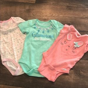 Bundle of girls summer clothes onesies tops shorts
